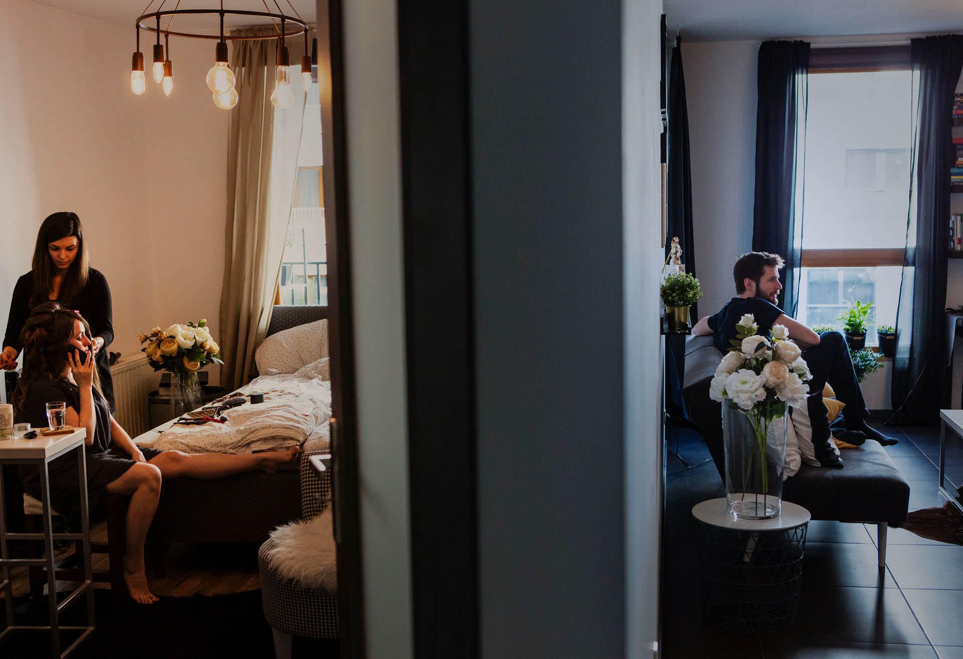 Panna Młoda i Pan Młody w czasie przygotowań ślubnych w Krakowie