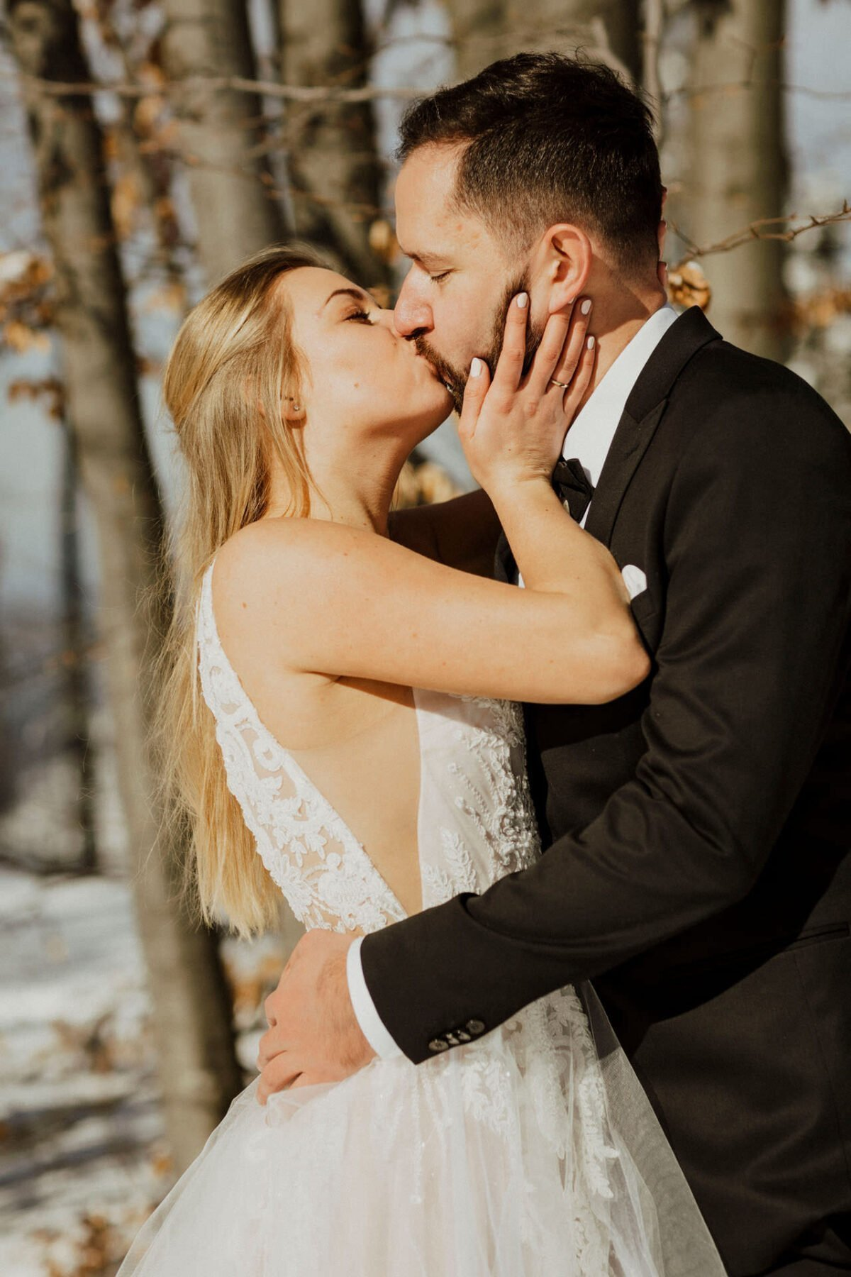 Plener ślubny w zimie - fotografia ślubna Kraków